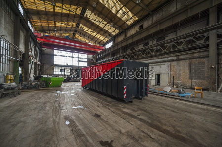 container in factory hall