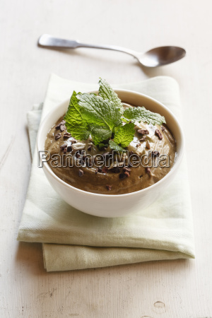 smoothie bowl with cocoa avocado and