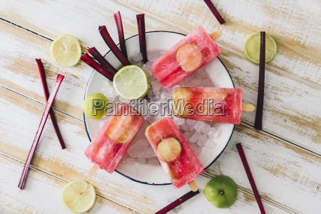beetroot and lime ice lollies on