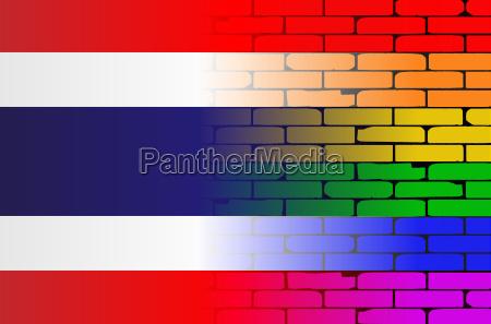 gay rainbow wall thai flag