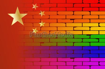 gay rainbow wall chinese flag