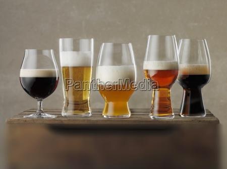 various glasses of beer
