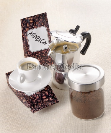 arrangement of coffee beans ground coffee