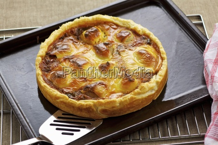 onion and potato tart topped with