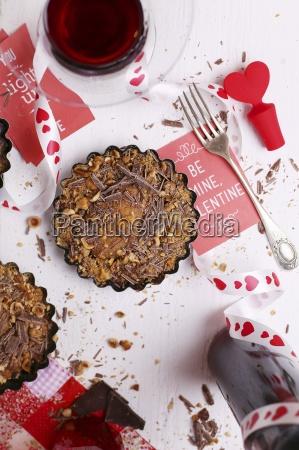 valentines day dessert with red wine