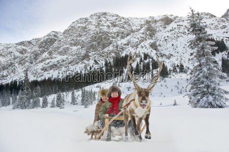a reindeer pulling a senior couple