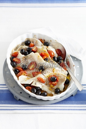 cod with tomatoes and olives italy
