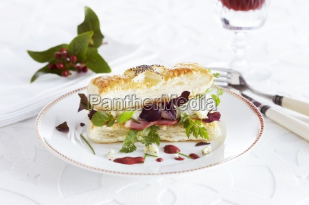 a savoury puff pastry sandwich with