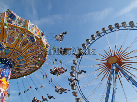 ferris wheel and chairoplane oktoberfest munich