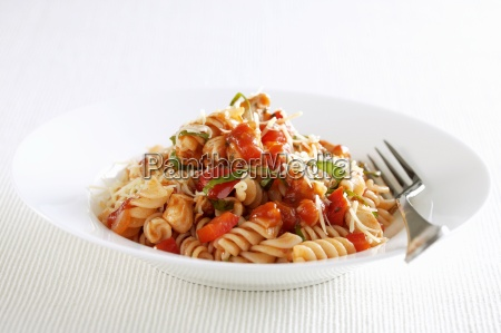 fusilli with a pepper sauce