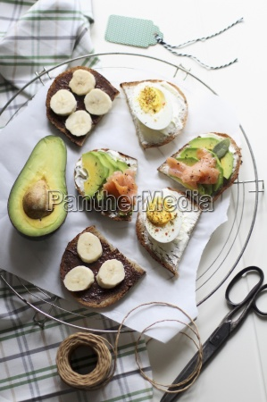 open sandwiches with sweet and savoury