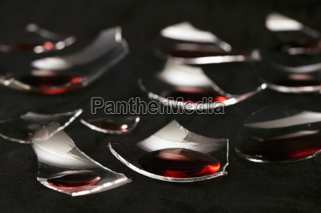 red wine on shards of red