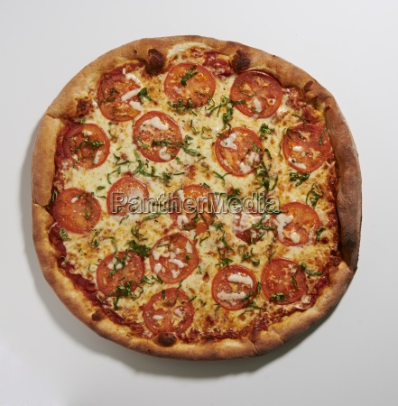 tomato and basil pizza seen from
