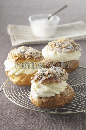 profiteroles with cream nuts and icing