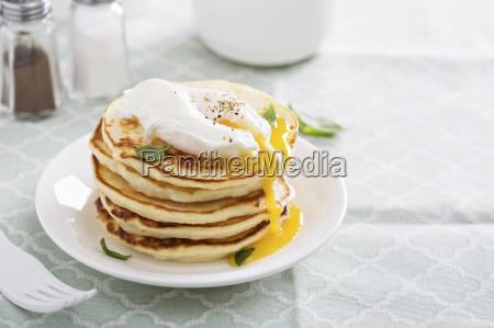savoury potato pancakes with a poached