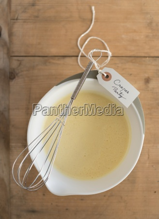 crepe batter in a bowl with
