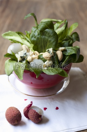 lambs lettuce with roquefort lychees and