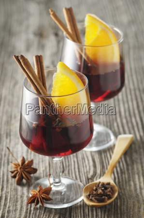 mulled wine with spices and orange