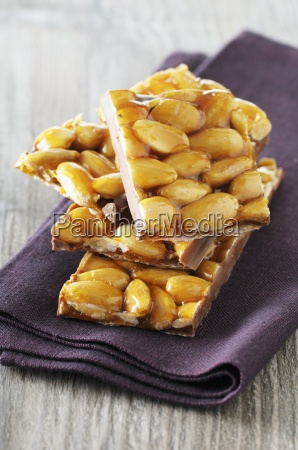 a stack of almond nougat on