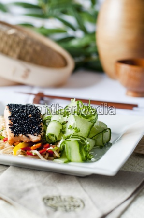 steamed salmon with a black sesame
