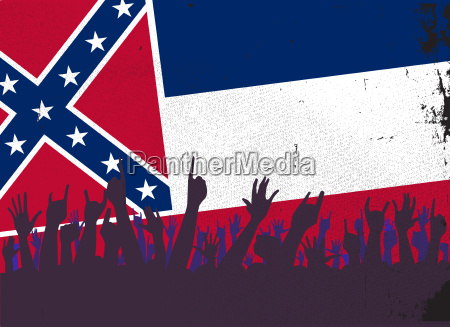 mississippi state flag with audience