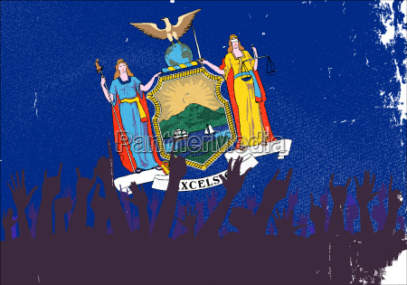 new york state flag with audience