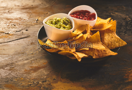 serving of tortilla chips guacamole and
