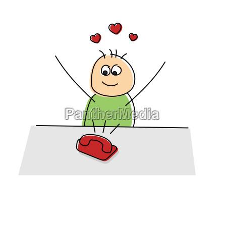 lovelorn cartoon character rejoicing