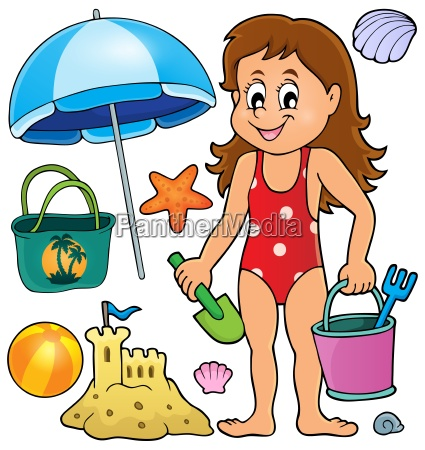 girl and beach related objects theme