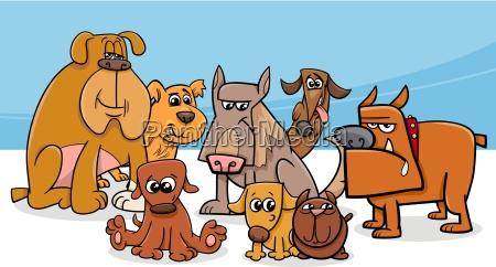 dogs group cartoon