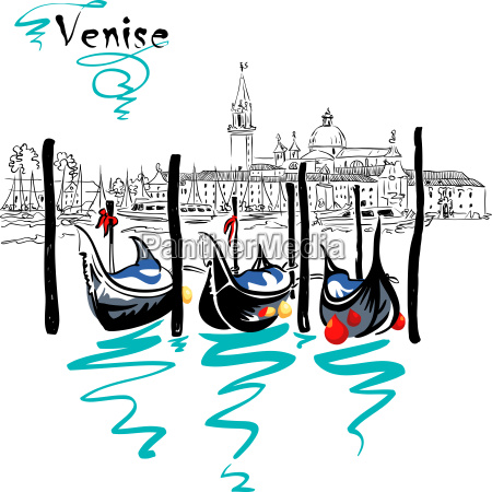 vector gondolas in venice lagoon italia