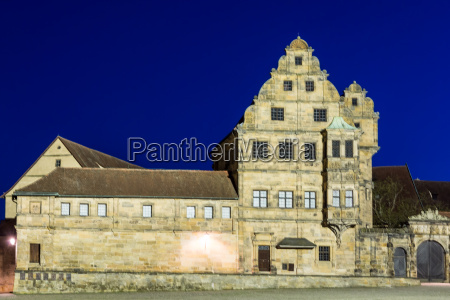 illumiated historic building at night
