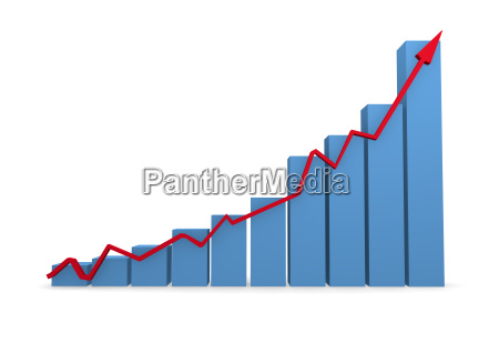 business graph in blue 3d rendering