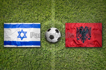 israel vs albania flags on soccer