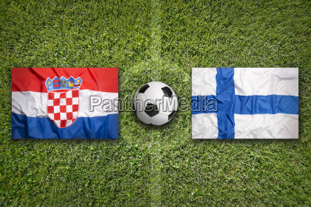 croatia vs finland flags on soccer