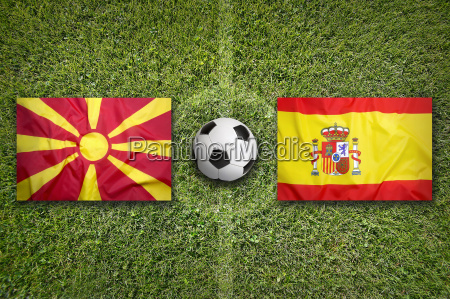 macedonia vs spain flags on soccer