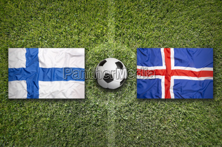 finland vs iceland flags on soccer