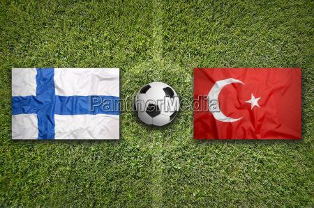 finland vs turkey flags on soccer