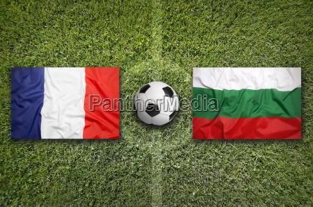 france vs bulgaria flags on soccer