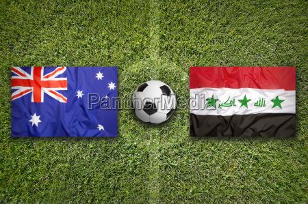 australia vs iraq flags on soccer