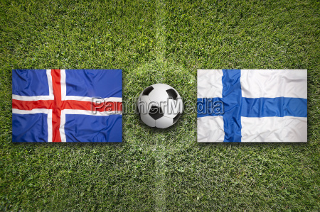 iceland vs finland flags on soccer