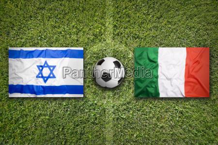 israel vs italy flags on soccer