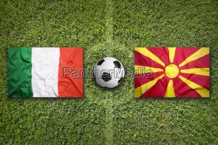 italy vs macedonia flags on soccer
