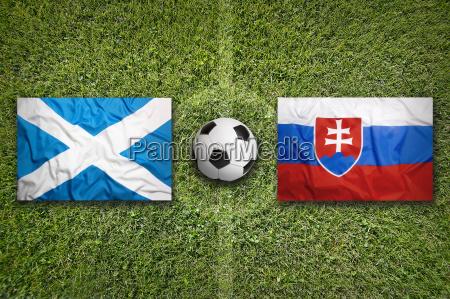 scotland vs slovakia flags on soccer