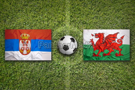 serbia vs wales flags on soccer
