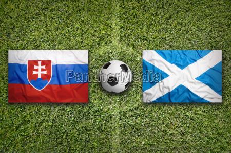 slovakia vs scotland flags on soccer