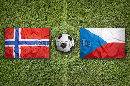 norway vs czech republic flags on