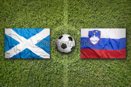 scotland vs slovenia flags on soccer