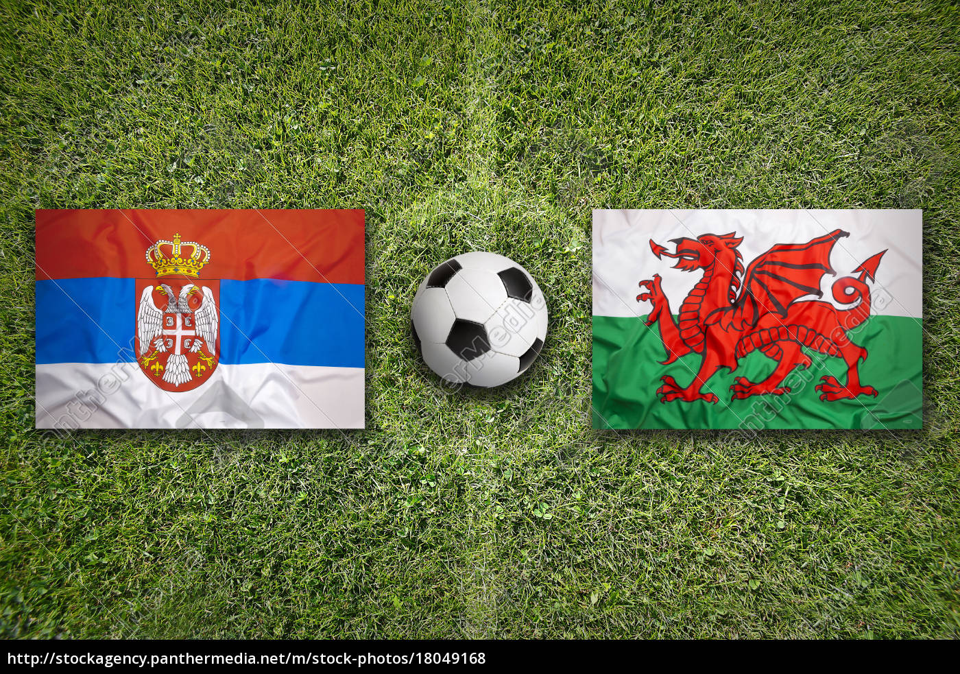 serbia, vs., wales, flags, on, soccer - 18049168