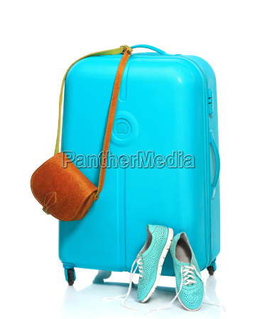the blue suitcase sneakers handbag on
